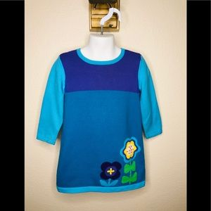 Hanna Andersson Teal Color Block Sweater Dress  3t